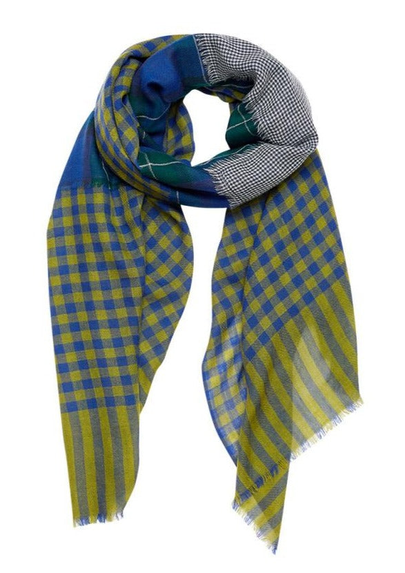 plaid, tartan, bold color, blue yellow green moss, french graphic design, patch, wool scarf, inouitoosh, sold in santa fe new mexico
