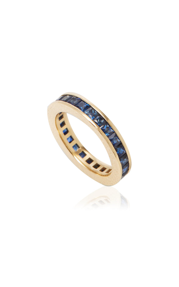 Blue Sapphire Ivy Eternity Band