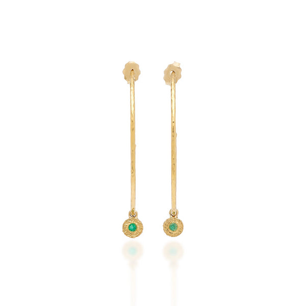 Emerald Nesting Gem Hoops, Small