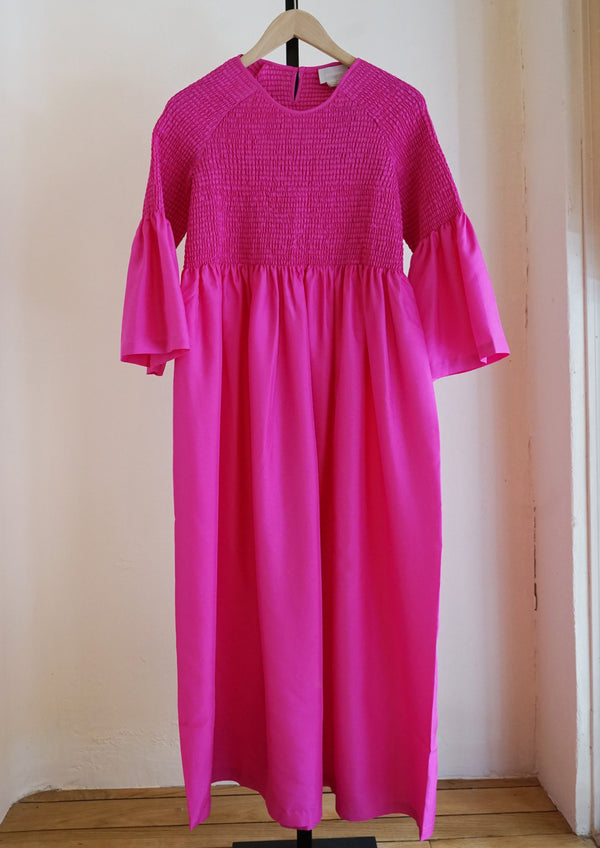 Stella Silk Dress, Fuchsia
