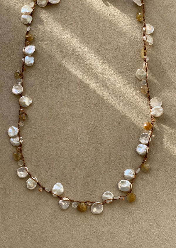 Crochet Keshi Pearl and Rutilated Quartz Necklace