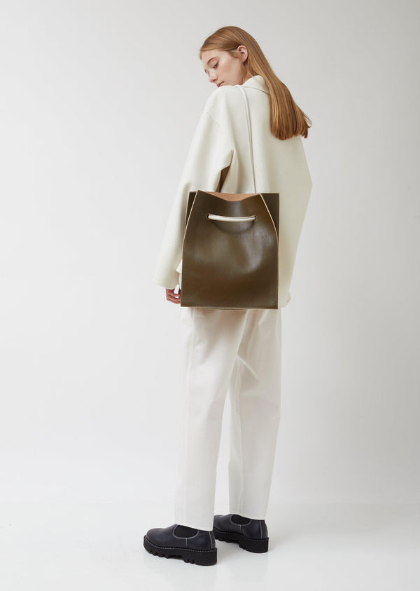 Sofie D'Hoore Pebbled Olive Leather Bag