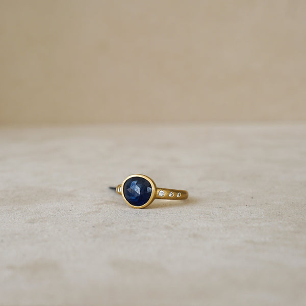 2 ct Natural Rose Cut Sapphire .09 ct Dia 18 kt Gold