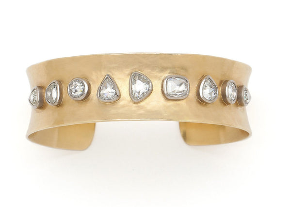 Tony Malmed Jewelry 18K recycled gold cuff with ethically sourced diamonds that are bezel set in sterling silver
