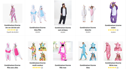 Combinaison licorne collection