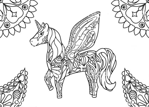 Coloring page unicorn mandala with wings