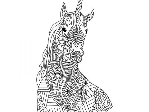 A unicorn coloring page that looks at you from the front