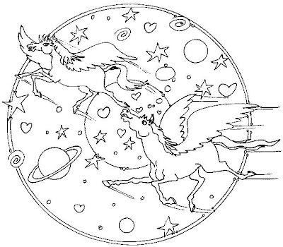 Mandal mythical universe coloring page