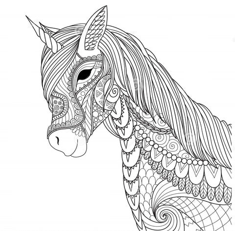 Coloring young unicorn with mysterious look