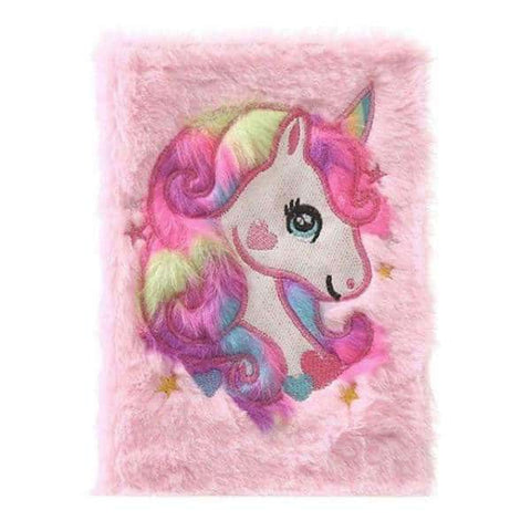 Journal intime licorne <br> en fourrure rose - Licorne
