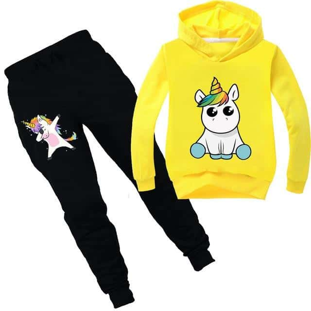 Ensemble licorne survêtement jaune kawaii - Licorne