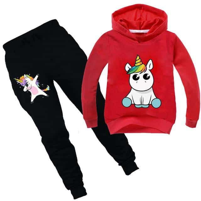 Ensemble licorne survêtement rouge kawaii - Licorne