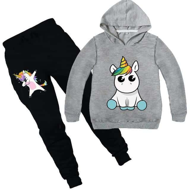 Ensemble licorne survêtement gris kawaii - Licorne