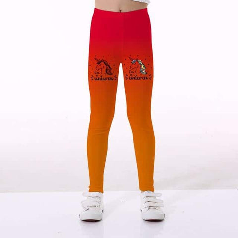 Leggings licorne <br> fille orange dégrader - Licorne