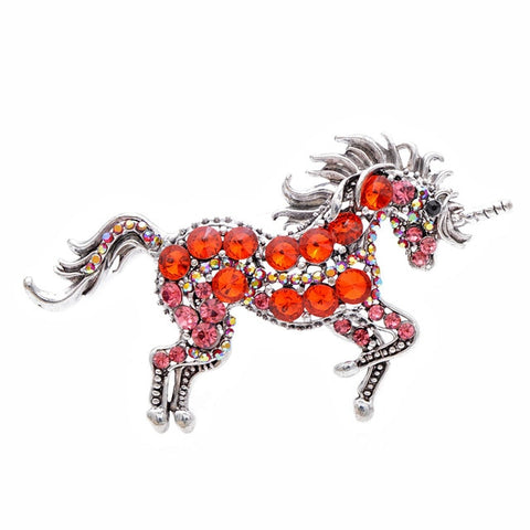 Broche licorne rouge