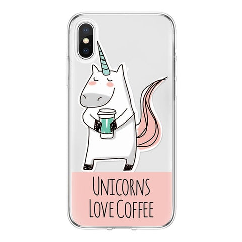 Coque licorne iPhone <br> transparent love coffee - Licorne