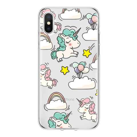 Coque licorne iPhone <br> transparent multi dodo - Licorne