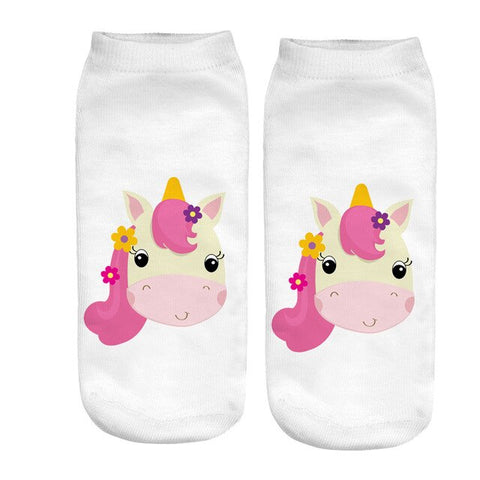 Chaussette licorne blanche kawaii