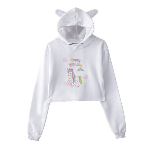 Sweat Licorne <br>Crop Top Bonne Anniversaire
