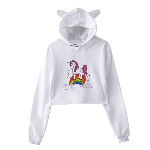 Sweat  Licorne <br>Crop Top Ciel