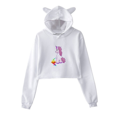 Sweat Licorne <br>Crop Top Drôle