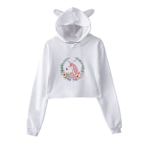 Sweat Licorne <br>Crop Top Fleurs
