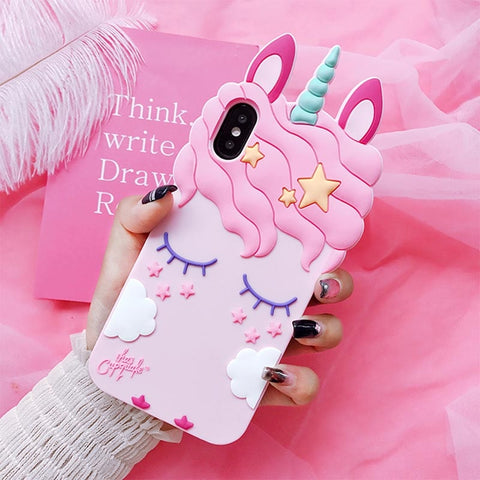 Coque licorne Huawei <br> rose 3D