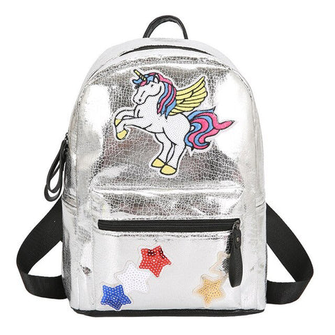 Cartable licorne Argent Scintillant