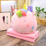 Peluche licorne <br>couverture oreiller kawaii rose - Licorne