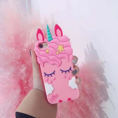 Coque licorne <br>en 3D iPhone rose sur rose - Licorne