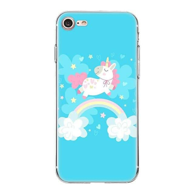 Coque licorne iPhone <br> bleu fun