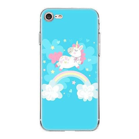Coque licorne iPhone <br> bleu fun - Licorne