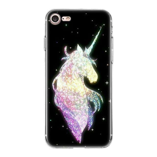 Coque licorne iPhone<br>noir brillant