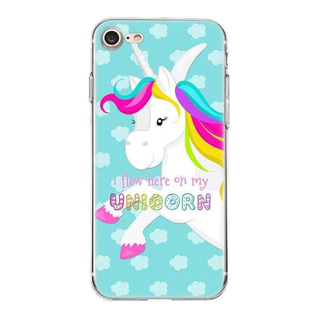 Coque licorne iPhone<br>I flew here on my unicorn