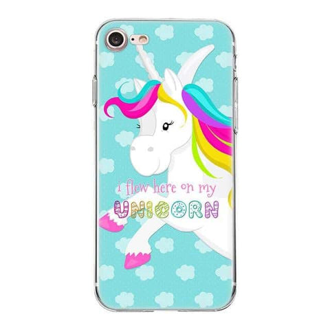 Coque licorne iPhone<br>I flew here on my unicorn - Licorne