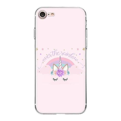 Coque licorne iPhone <br> over the rainbow - Licorne