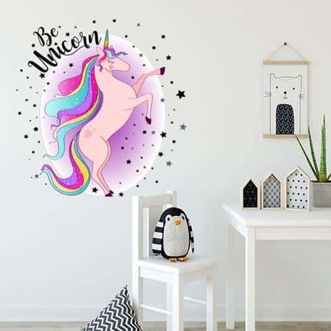 Stickers licorne <br> rose