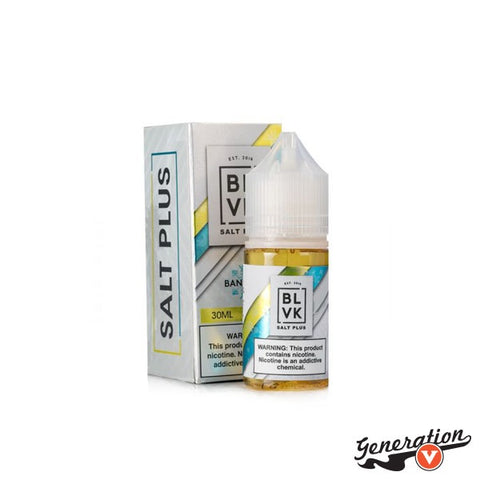Banana Ice Salt Plus by BLVK Unicorn a nicotine salt blend mixing together notes of sweet ripe banana with the uplifting chill of menthol.