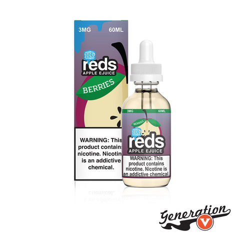 Berries ICED Red's Apple eJuice by 7 Daze is the chilled rendition of red apple juice fully infused with tangy blueberries, sweet raspberries, and mouth-watering pomegranates!