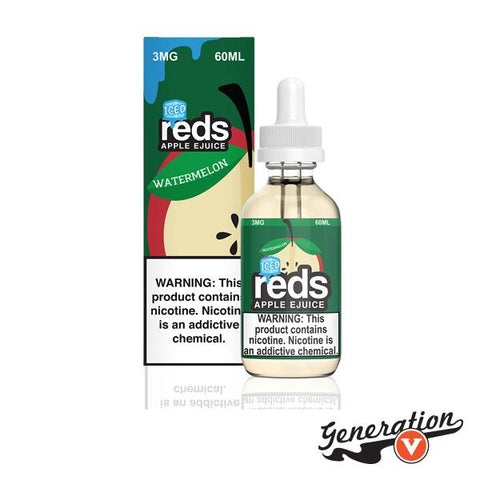 Reds Apple Watermelon Iced vape juice blend is literally fresh watermelon bursting with juiciness and succulent apples with a cool ending.