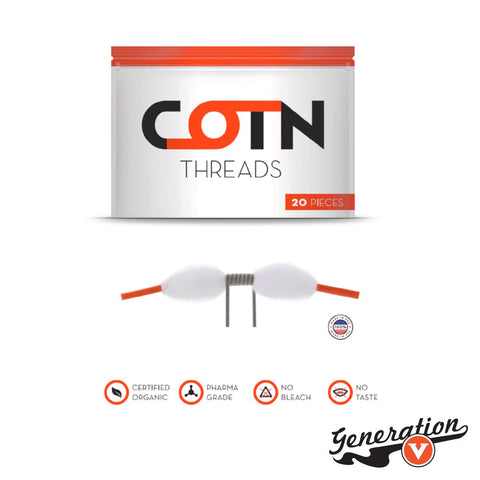 COTN Threads delivers a convenient set of wicking elements to the rebuildable accessory segment, presenting a resealable bag of 20 organic cotton wicks in a pre-roll configuration with plastic tube end for a ready-to-use set-up.