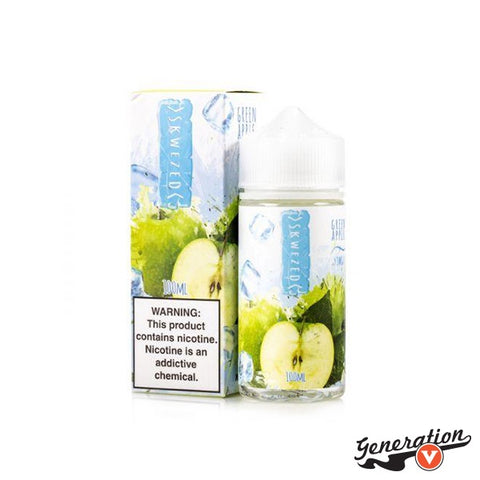 ICED Green Apple by Skwezed E-Liquid, blending together sour mouth-puckering green apples with a blast of menthol.