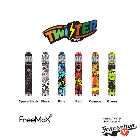 The Freemax Twister 80W Starter Kit includes an 80W variable wattage built-in battery tube mod and the Fireluke 2 sub ohm tank. Powered by 2300mah built-in battery and twist-style variable wattage function.  Easily fires up to 80w max output.