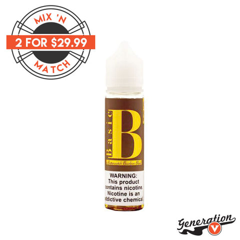 Basic B e-liquid vanilla aroma blended with earthy bourbon