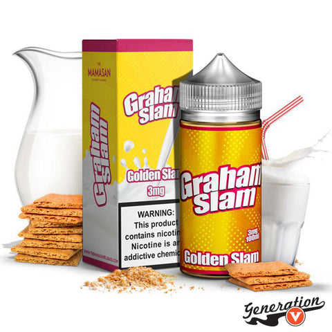 Golden Slam by Graham Slam E-Liquid is a Golden graham cracker mixed with delicious milk!