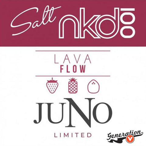 Juno Lava Flow Pods 4 Pack by Naked 100 Salts E-Liquid is a frozen mix of strawberry, coconut and pineapple. Created for Juno by Twelve Vapor in Collaboration with Naked 100 E-Liquid.