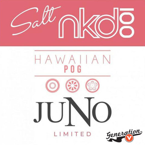 Juno Hawaiian POG Pods 4 Pack by Naked 100 Salts E-Liquid is a blend of passion fruit, orange, & guava. Created for Juno by Twelve Vapor in Collaboration with Naked 100 E-Liquid.
