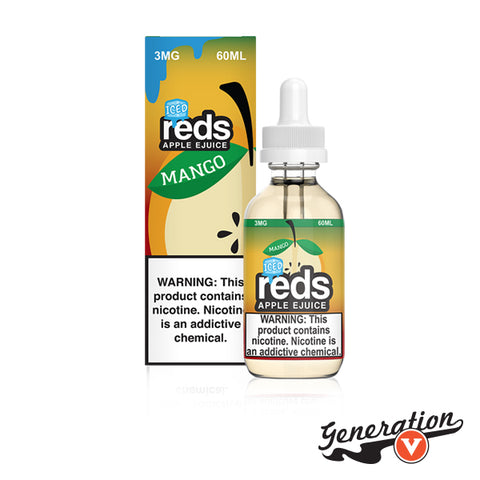 Mango ICED Reds Apple eJuice by 7 Daze is a frigid rendition of exotic tropical mangoes reduced to a tasty vapable elixir touched with a blast of icy menthol.