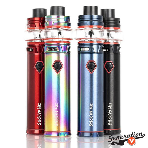 Stick V9 MAX Starter Kit presents the most powerful vape pen by SMOK to date, featuring a massive 4000mAh rechargeable battery to pair with mesh-coil of the Baby V2 Coil System.