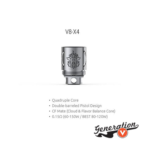 The TFV8 V8-X4 features 0.15 ohm resistance which can support 60~150W power output, best for 80~120W. Comes with double-barreled pistol design and CF mate, this TFV8 V8-X4 core is a wonderful design for cloud & flavor chasing enthusiasts!